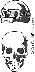 vector illustration of human skull. motorcycle helmet for bikers.