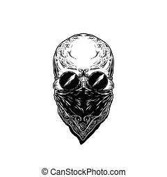 Vector illustration of human skull with glasses