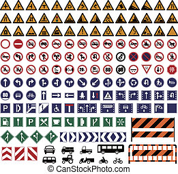 Vector illustration of hundreds Traffic Sign collections.
