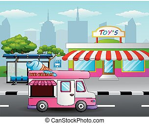 Ice cream truck in front of the toy shop near a street