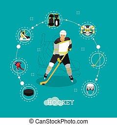 Vector illustration of ice hockey player. Man in sport uniform flat style design.