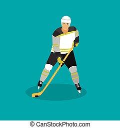 Vector illustration of ice hockey player. Man in sport uniform flat style design