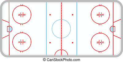 Ice Hockey Rink - Vector illustration of Ice Hockey Rink