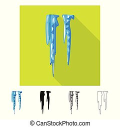 Vector illustration of icicle and ice sign. Set of icicle ...