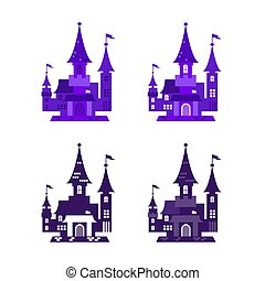 Vector illustration of icons for halloween. Isolated modern ...