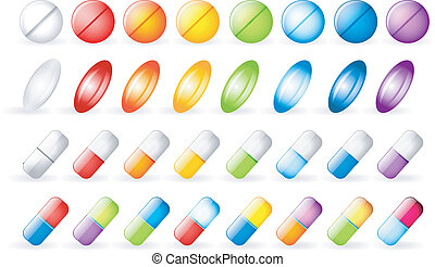 Icons tablets and pills