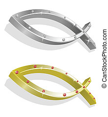 Vector illustration of 2 realistic golden and silver icthus with brilliants