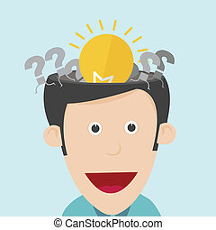 Vector illustration of idea concept with open the human head