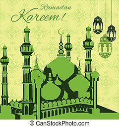 vector illustration of illuminated lamp for Ramadan Kareem background