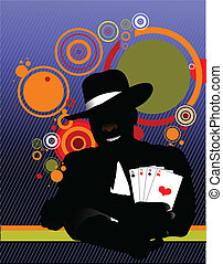 Vector illustration of illusionist