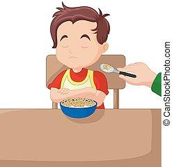 Illustration of a boy eating cereals