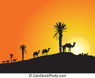 illustration with camel silhouettes