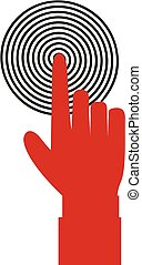 Vector illustration of index finger pointing to the target, business concept