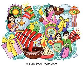 India festival of Lights Happy Diwali doddle background -...