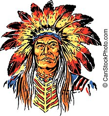 Indian Chief - Vector Illustration of Indian Chief for...