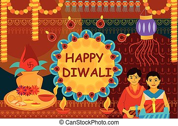 Indian family celebrating Bhai Dooj during Happy Diwali...