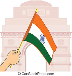 Vector illustration of Indian Flag in front of India Gate.