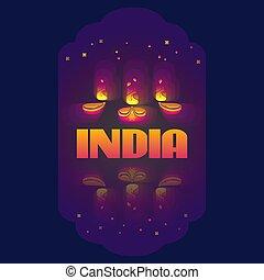 Vector illustration of Indian oil lamp diya.