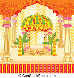 Indian wedding mandap - vector illustration of Indian...