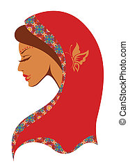 Vector  illustration of  Indian woman