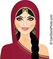 woman smiling - Vector illustration of Indian woman smiling
