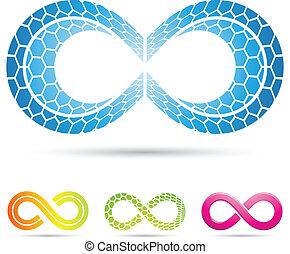 infinity symbols with mosaic pattern