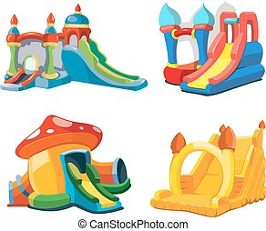 Vector illustration of inflatable castles and children hills...