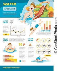 Vector illustration of infographics about water games
