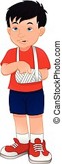 Injured boy with broken arm - vector illustration of Injured...