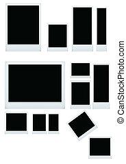 vector illustration of instant photo set isolated on white background