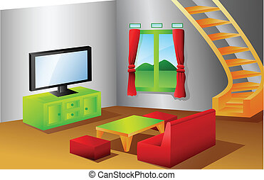 Interior of a house living room - vector illustration of...