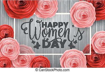 International Happy Women's Day greeting card with roses flowers on wooden background