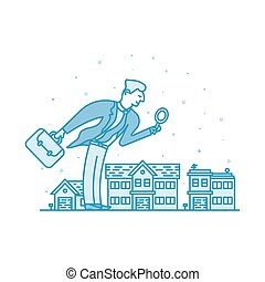 Vector illustration of Investor businessman in flat bold linear style.