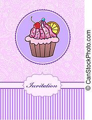 invitation card with cake