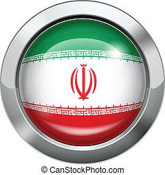 Iran flag metal button