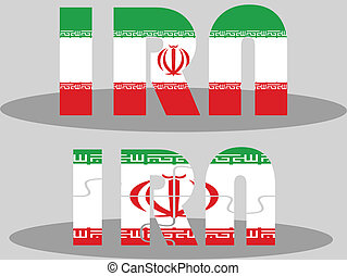 Iranian Flag in puzzle isolated on white background