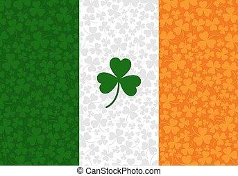 vector illustration of ireland flag with shamrock