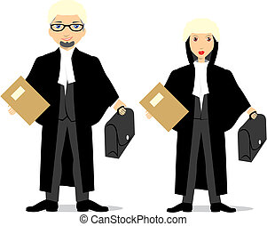 isolated barrister couple - vector illustration of isolated...