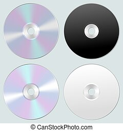 Vector illustration of isolated blank compact disc CD or DVD. Realistic style.