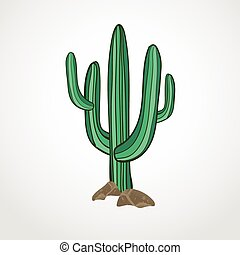 Vector illustration of isolated cactus on white background. Wild west or cowboy theme icon