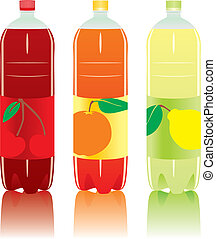 carbonated drink bottles - vector illustration of isolated ...