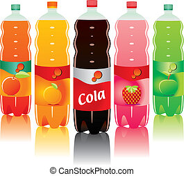 vector illustration of isolated carbonated drink bottles