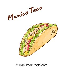 vector illustration of isolated cartoon hand drawn fast food. Mexican taco