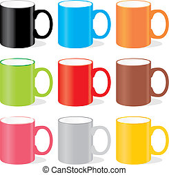 isolated colored mugs - vector illustration of isolated...