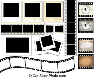 instant photo frames and film strip - Vector illustration of...