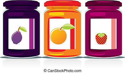 isolated jam jars set