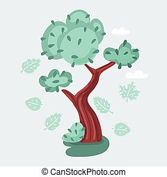Vector illustration of isolated tree on white background