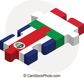 Italy and Costa Rica Flags in puzzle