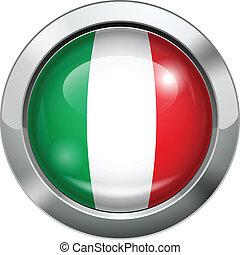 Italy flag metal button