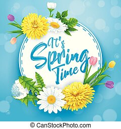 It's spring time banner with round frame and flowers on blue sky background